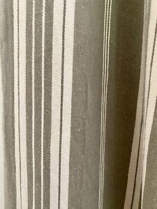 Antique LONG French TICKING cotton KHAKI TONES UPHOLSTERY c1900
