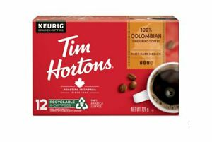 Tim Hortons Keurig Single Serve K Cups Coffee Canada COLOMBIAN BLEND - Box of 12