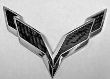 C7 Corvette Stingray/Z06 2014+ Front/Rear Flag Emblem Overlay Sets (Blackouts)