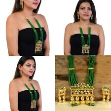 Indian Bollywood Kundan Green Brass Beaded Gold Plated Long Set Earrings Necklac