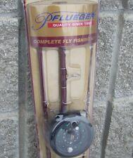 Pflueger Starter Fly Fishing 8' 3 Pc Rod Reel Line Leader Flies Kit Combo NEW