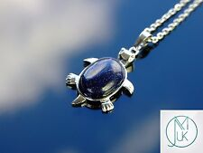 Blue Goldstone Turtle Manmade Gemstone Pendant Necklace 50cm Healing Stone