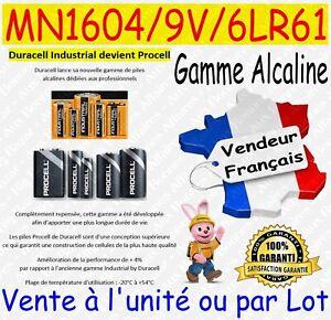 Piles 9V 6LR61 MN1604 DURACELL - Dispo aussi CR2032 CR2025 CR2016 CR2430 CR2450