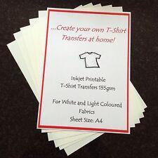10 FOGLI A4 Stampabile A Getto D'inchiostro Ferro-On t'shirt Trasferimento Stampante tessuto leggero a casa