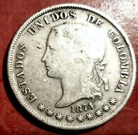 Colombia 5 Decimos 1874 Bogota plata @ Bella @