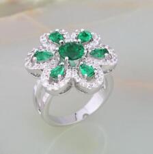 Ladies Shiny Emerald 18ct White Gold GF Party Gift Gemstone Big Ring Size K-O-S