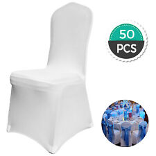 50 Pcs White Chair Covers Polyester Spandex for Wedding Party Dining