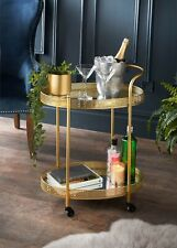 Stylish Deco Glamour Gold Drinks Trolley With Glass Shelves For Your Home