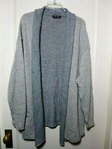 Marina Rinaldi Sz XL Gray Wool Blend Open Front Cardigan Tunic USA Plus 20W 22W