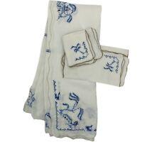 Vintage White Blue Embroidered Linen Tablecloth + Napkins Chinese VTG