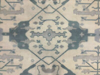 8x10 MUTED HAND KNOTTED RUG OUSHAK WOOL RUGS NEW CREAM PERSIAN woven blue gray