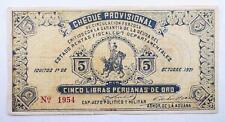 Rare Peru 1921 Cervanteros - Iquitos Cheque Provisional 5 Libras Gold Note