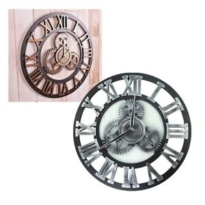 2021 Retro Wooden Gear Metal Roman Wall Clock Big Numeral Giant Round Face Clock