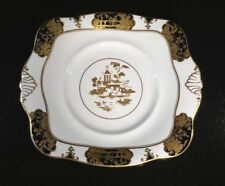 A Stunning Rare Tuscan Black And Gold Oriental Cake Plate