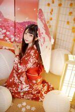 Japanische Kimono Frau Sakura Yukata FullSet Kawaii Kostüm Kleid cosplay Anime