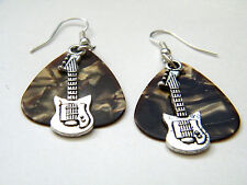 GUITAR PICK EARRINGS BROWN ROCK & ROLL SILVER MINI BASS! SILVER EAR WIRES NEW!