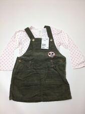 H&M Baby Girl Set Dress Top Khaki green 12-18M