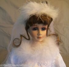 "Marie Winter Wedding Doll Porcelain with Cloth Body 17"" New in Box Dress Bouquet"