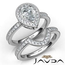 2.04ctw Halo Milgrain Bezel Bridal Pear Diamond Engagement Ring Gia I-If Gold