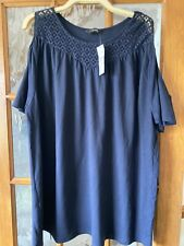 Lovely New womens plus size tops, Navy, Cold Shoulder 26/28