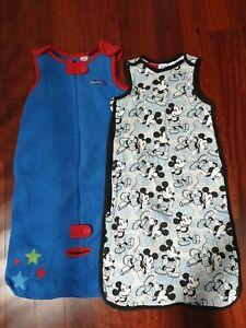Baby winter sleeping bags x2 Target sleeveless fleece & Mickey mouse - Size 1