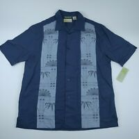 Cubavera Mens Blue Linen Blend Short Sleeve Collared Button Down Shirt Size M
