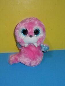 "Tusk 6"" Ty Beanie Boos Pink Walrus Plush Stuffed Animals Toy Glitter Eyes"