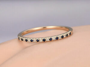 Blue Sapphire Wedding Half Eternity Band Solid 14K Rose Gold Plated Silver Ring