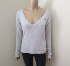 Hollister Women Deep V-Neck Knit Sweater Size XS Light Gray