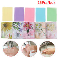 15Pcs Disposable Travel Soap Paper Washing Hand Clean Scented Slice She npSPUKTW