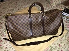 Authentic Louis Vuitton Keepall 55 Damier Ebene Brown Duffle Bag monogram