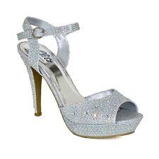 Womens Platform High Heel Party Sandals Open Toe Ankle Strap Diamante Shoes Size