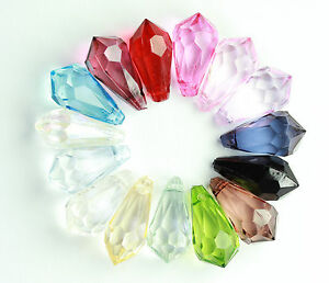 25 pcs Acrylic Transparent Faceted  Teardrop Beads 8x17mm (12 different Col) #2