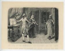 ANTIQUE VERSAILLES COSTUME MAN WOMAN SHAWL PAJAMAS CANDLE MINIATURE PRINT