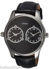 Guess Nero Coccodrillo pelle + Color Argento Multiplo, Dual Time Due Zone