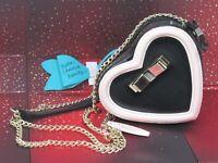 Victoria's Secret Bow Pink/ Black Heart Crossbody Bag Clutch W/ Gold Chain, NWT