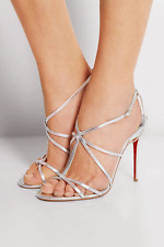 Christian Louboutin Youpiyou 100 SILVER Lame Leather Red Sole Slingback Shoes 41