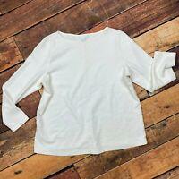 J.Jill Textured Top Size XL Womens Ivory Long Sleeve Blouse Shirt Tee *STAIN*