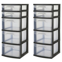 HOME TOWER ORGANIZER 5 Drawer Set Of 2 Plastic Storage Cabinet Office Garage Cle