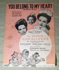 Vintage You Belong To My Heart Sheet Music The Three Caballeros Walt Disney 1943