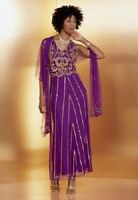 Ashro Maraye Dress GOWN NEW NWT Purple Gold Beaded Long Formal WRAP NOT INCLUDED