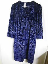 SIMPLY BASIC WOMENS LARGE LOUNGING GOWN SLEEPWEAR BLUE POLY VELVET NIGHTGOWN