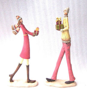 Modern Tall People Lady with Presents Christmas Figurine Girl with Food Platter