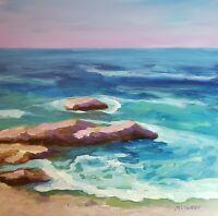 "Mona Vivar original impressionist coastline Atlantic ocean art painting 11""x14"""