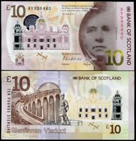 SCOTLAND 10 POUNDS 2016 BANK OF SCOTLAND POLYMER WALTER SCOTT P 131 UNC