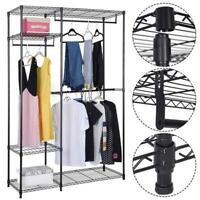 4 Tiers Closet Organizer Shelves Clothes Storage Metal Rack Home Garment Shelf