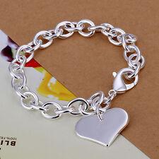 Fashion Accessories 925Sterling Silver Love Heart Womens Chain Bracelet H278+BOX