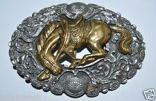 Beautiful Vintage See Through Western Equestrian Horse Ornate Belt Buckle MINT