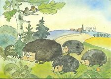 Alte Kunstpostkarte - Igelfamilie