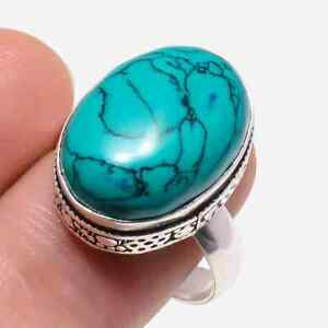 Santa Rosa Turquoise Gemstone Handmade 925 Sterling Silver Jewelry Ring Size 7.5